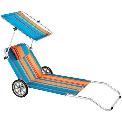 Baltico Strandliege mit Sonnendach und Rädern Klappliege Sonnenliege Strandwagen Alu
