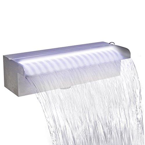 Festnight Edelstahl Rechteckige Wasserfall Wasserfontäne Pool-Fontäne mit LED Beleuchtung 30 cm