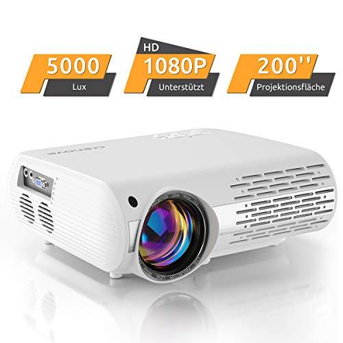 Beamer,5000 Lux Video Projektor (550 ANSI) XPE660 unterstützt 1080P Full HD, Verbindung mit TV-Sticks, PS4 Xbox, HDMI, VGA, SD-Karten, AV- und USB-Geräten, Heimkino-Beamer (Aktualisierung)