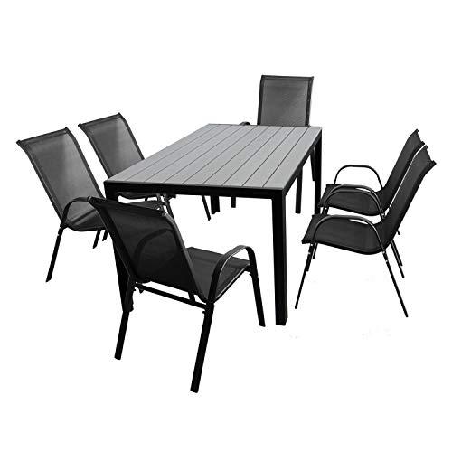 Wohaga 7tlg. Gartengarnitur Polywood Tisch 150x90cm Schwarz/Silbergrau + 6 Stapelstühle mit Textilenbespannung Schwarz Gartenmöbel Terrassenmöbel Set Sitzgruppe