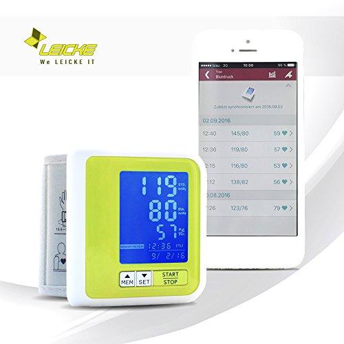 Sharon Smart Bluetooth Handgelenk-Blutdruckmessgerät mit Akku | Apple Health Google Fit | Arrhythmieanzeige | Laden über Micro USB | 60 Speicherplätze | Datentransfer zu SwissMed App iOS und Android