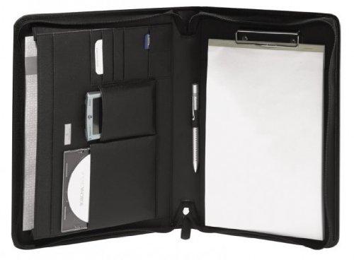 Bodenschatz Schreibmappe/Notebook/Portfolio DIN A4 schwarz JAMES, aus echtem Rindleder mit Fächern und Block, perfekt für Meeting oder unterwegs