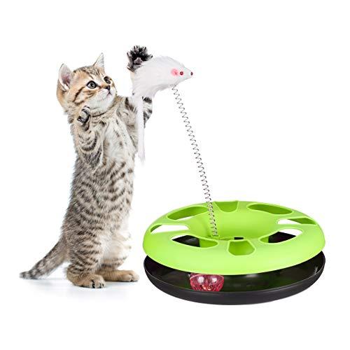 Relaxdays Katzenspielzeug mit Maus, Kugelbahn, Ball mit Glöckchen, Cat Toy, interaktiv, Training & Beschäftigung, grün