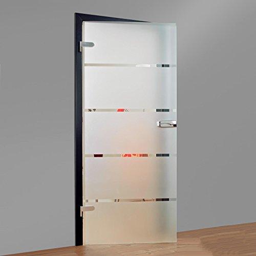 Glas-Drehtür Tür Zimmertür Innentür Wohnungstür 834x1972mm Sicherheitsglas 8mm (ESG) Blockstreifen satiniert DIN links