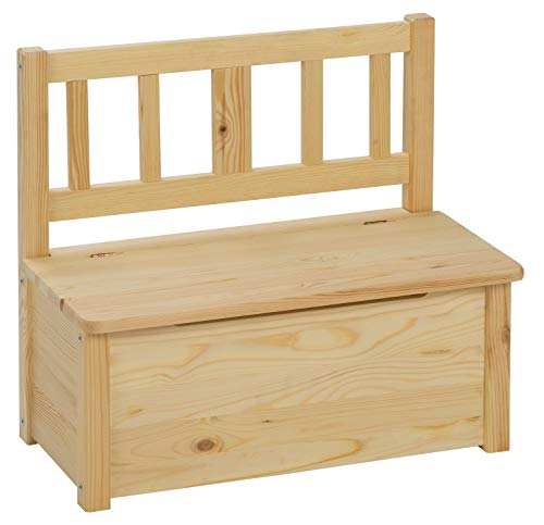 BOMI Aufbewahrungsbox groß mit Deckel Baby aus Kiefer Massiv Holz für Kleinkinder ab 24 Monate bis 6 Jahre   unbehandelt & unlackiert