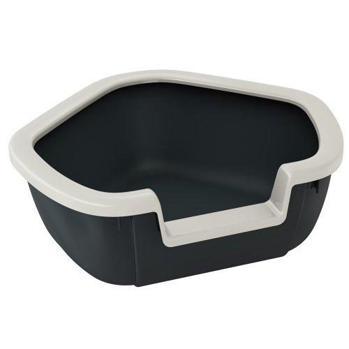 Ferplast Katzentoilette Dama für Raumecken / Robuste Katzentoilette mit hohem, abnehmbarem Rand für eine hygienische Reinigung / Farbe: Schwarz / Maße: 57,5 x 51,5 x 22 cm