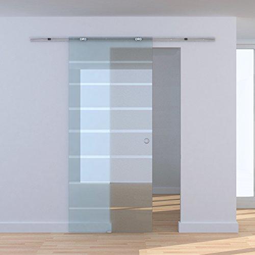 Homcom Glasschiebetür Schiebetür Glastür Zimmertür teilsatiniert 775 / 900 / 1025 x 2050 mm (Modell1/ 775 x 2050 mm)