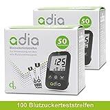 adia Blutzuckerteststreifen, 100 Stück, für das adia Blutzuckermessgerät – die günstigsten Teststreifen für Diabetiker!