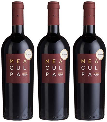 3er Paket - MEA CULPA Vino Rosso Italia - Cantine Minini | halbtrockener Rotwein | italienischer Wein aus Apulien und Sizilien | 3 x 0,75 Liter