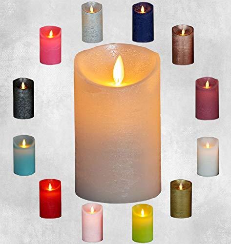 LED Echtwachskerze Kerze Farbauswahl Timer flackernde Wachskerze Kerzen Batterie, Farbe:Perle, Größe:12.5 cm