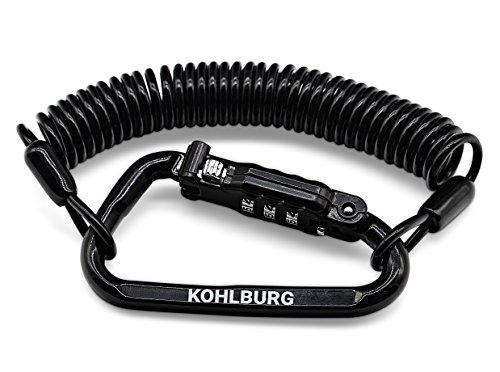 Extra langes KOHLBURG Zahlenschloss für die Tasche, sehr leicht mit 180cm langem & robusten Spiralkabel, Diebstahlschutz für Kinderwagen Rollator Gartenmöbel, als Helmschloss & Ski-Schloss