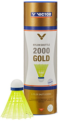VICTOR Nylon Federball Shuttle 2000 6er Dose, Gelb / Blau