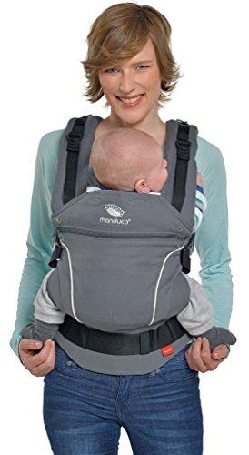 manduca Babytrage  PureCotton 2018 DarkGrey  Optimierte 3-P-Sicherheitsschnalle & Neues Stoff-Finishing (Soft & Fusselfrei) Bio-Baumwolle Bauch- Hüft- und Rückentrage für Kinder von 3,5-20kg, grau