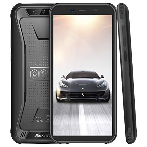 (2019) Blackview BV5500Pro Outdoor Handy 4G Android 9.0 Pie mit IP68 Wasserdicht, Dual SIM Robustes Handy 3GB RAM+16GB Speicher, 4400mAh Akku, 5.5 Zoll Display (NFC/GPS/Face ID/WiFi) Schwarz