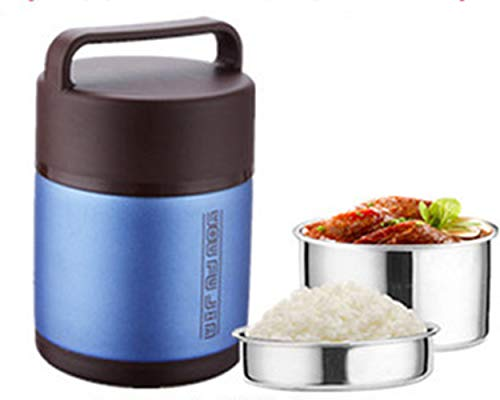 HAHABABY Vakuumisolierter Isolierbehälter Doppelwandiger Edelstahl Thermobehälter Lebensmittel Gefäß Foodcontainer Essenbehälter Foodbehälter,Blue,1.6L