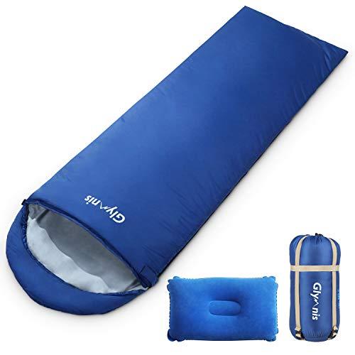 Glymnis Schlafsack Deckenschlafsack Ultraleicht klein warm Sommerschlafsack 220x75 cm für Outdoor Camping Kapuze Wandern mit aufblasbarem Kopfkissen und Kompressionsbeutel