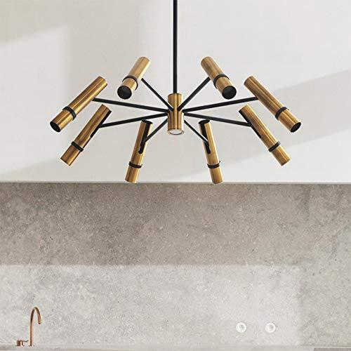 Lingkai Moderne Einstellbare LED Kronleuchter Mid-Century Deckenbeleuchtung Strahler in Schwarz Mix Gold Köpfe für Restaurant Küche Esszimmer Dekoration (9 Lampen)