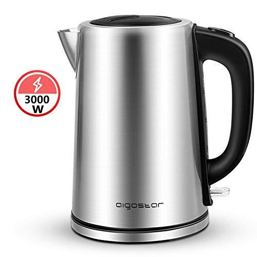 Aigostar Rob 30IGQ - Elektrischer Wasserkocher, 3000Watt, 304 Food Grade Edelstahl, 3000Watt, 1,7 Liter, trocknender Schutz beim Kochen, BPA frei.EINWEGVERPACKUNG.