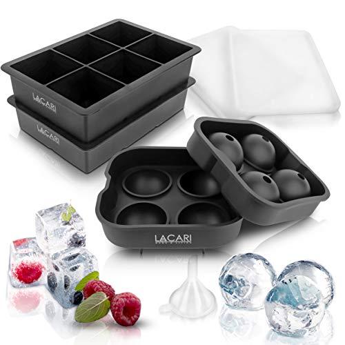 EINFÜHRUNGSANGEBOT - Lacari  Eiswürfelform für perfekte Eiswürfel - 2 + 1 Silikonform für die perfekten Eiswürfel - Gratis E-Book + Trichter zum perfekten Befüllen des Ice Trays