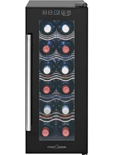 Profi Cook PC-GK 1164 Glastür-Getränke-Flaschen-Kühlschrank/EEK A / 32 L / 121 kWh/LED Innenraumbeleuchtung/Sensor-Touch-Steuerung/Bedienfeld mit LED-Display/Thermoelektrische Kühlung