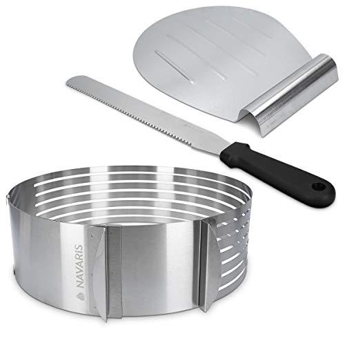 Navaris Torten Set 3tlg. aus Edelstahl - Tortenheber Tortenschneider Schneidhilfe für Tortenboden - Kuchen Boden Heber Messer Tortenring 23-29cm