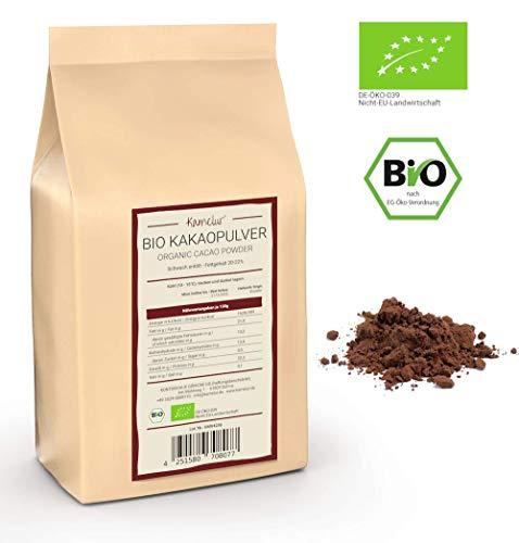1kg BIO Kakao Pulver aus besten Kakaobohnen - 100% reiner Kakao, BIO Kakaopulver schwach entölt (20-22% Fett) verpackt in biologisch abbaubarer Verpackung