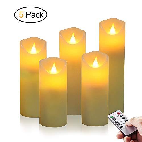 LED Kerzen, omitium Flammenlose Kerzen aus 5 Echtwachs mit realistischen tanzenden LED Flammen und 10-Tasten Fernbedienung mit 2/4/6/8-Stunden Timer