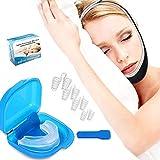 Schnarchstopper Schnarchen Lösung Stop Schnarchen Kinnriemen mit 4 Set Nasendilatatoren für Abhilfe bei Verstopfter Nase