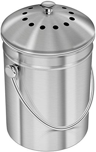 Premium-Qualität Edelstahl Kompostbehälter Komposteimer 1,3 Gallonen, Inklusive Kohlefilter - von Utopia Kitchen