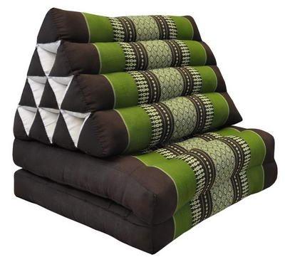 Wilai Kapok Thaikissen, Yogakissen, Massagekissen, Kopfkissen, Tantrakissen, Sitzkissen - braun/grün (Dreieck mit 2 Auflagen 52x44x45 (82002))