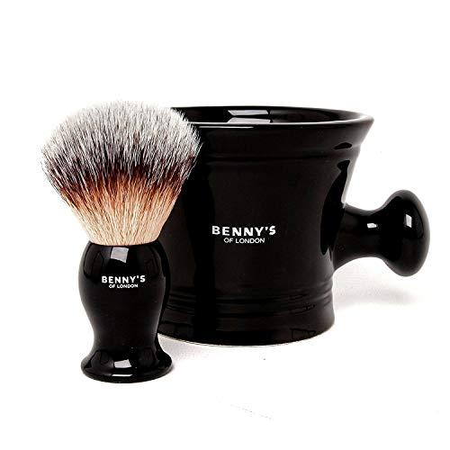 RASIERBÜSTE & SCHÜSSEL GESCHENKE SET – Von Benny's of London – unsere bestverkaufte Rasierbürste mit der Keramik schwarzen Tasse für das Schlagen der Rasierseife und Creme