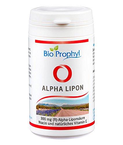 BioProphyl Alpha Lipon - 300 mg rein natürliche - (R)-Alpha Liponsäure - ohne synthetische (S)-Alpha Liponsäure - mit Vitamin E und Niacin - 60 pflanzliche Kapseln