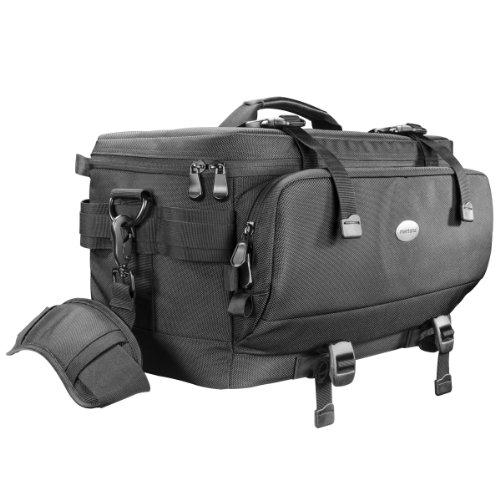 Mantona New York Fototasche (inkl. 5 Trennstegen, abnehmbarem Tragegurt und Regenschutzhülle) schwarz