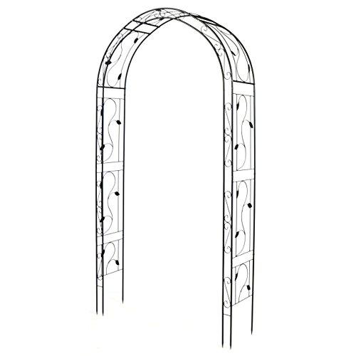 SONLEX Eleganter Rosenbogen aus Metall im Weinblatt-Design für Kletterpflanzen im märchenhaften Garten, beschichtet für Lange Haltbarkeit, 260 cm hoch, schwarz