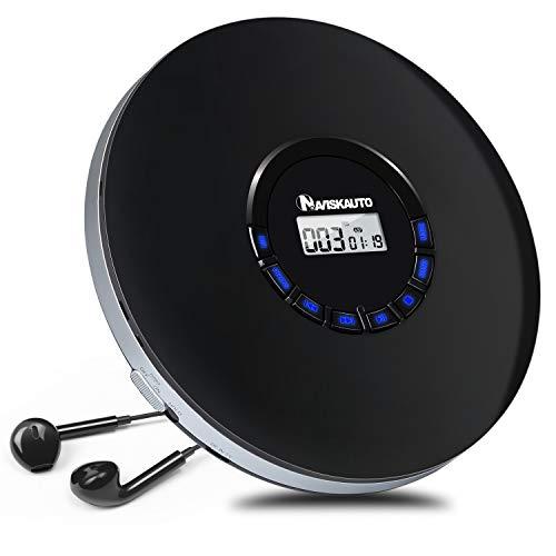 NAVISKAUTO Tragbarer CD Player Discman mit Kopfhörer 12 Stdn. Spielzeit Skip Schutz CD/MP3/WMA/CD-R/CD-RW für Hörbücher Musikhören Sprachelernen