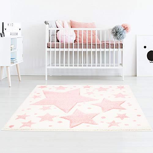 Taracarpet Kinderzimmer und Jugendzimmer Teppich Dreamland Kinderzimmerteppich Sterne Creme rosa 120x120 cm