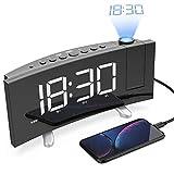 Projektionswecker, Radiowecker mit Projektor und Large LED Curved-Screen,Display abschaltbar dimmbar,Digitaler Wecker mit 2 Weckalarme,Snooze-Funktion,USB-Anschluss