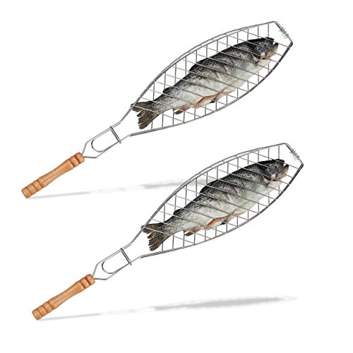 2x Fischbräter im Set, 50 cm lang, Grill Fischwender, Fischhalter zum Grillen, Wendebräter