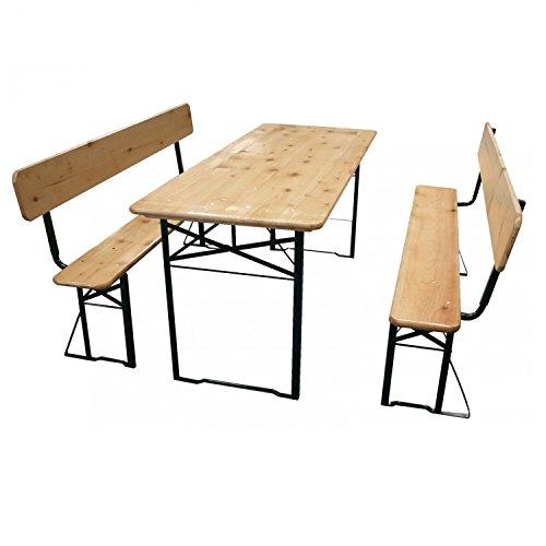 Bierzeltgarnitur klappbar, 3 teilige Sitzgruppe - klappbarer Biertisch und Bänke mit Rückenlehnen, Garten Festzeltgarnitur L177 x B69/25 cm - neue Lieferung & bessere Verarbeitung