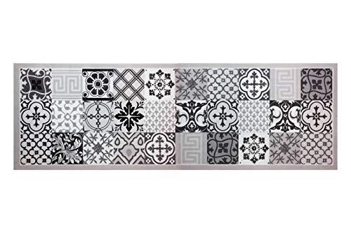 HOMEFACTO:RI Küchenläufer Brücke Läufer Kachel Fliesen Mosaik grau | Anti-Rutsch Waschbar, Größe:ca. 60 x 180 cm, Designs:Mosaik | grau schwarz
