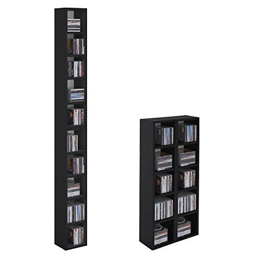 CD DVD Regal Ständer Aufbewahrung CHART in schwarz mit 10 Fächern für bis zu 160 CDs, 20x186 cm (Breite x Höhe)