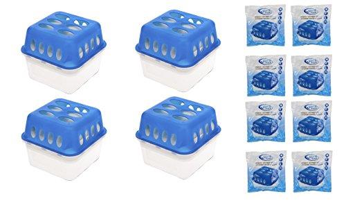 4 x Box + 8 x 400 Gramm Luftentfeuchter (4D) + gratis Microfasertuch -VANI- 30 x 30 cm Nachfüllpack Vliesbeutel XXL Box Granulate Nachfüllen Raumentfeuchter