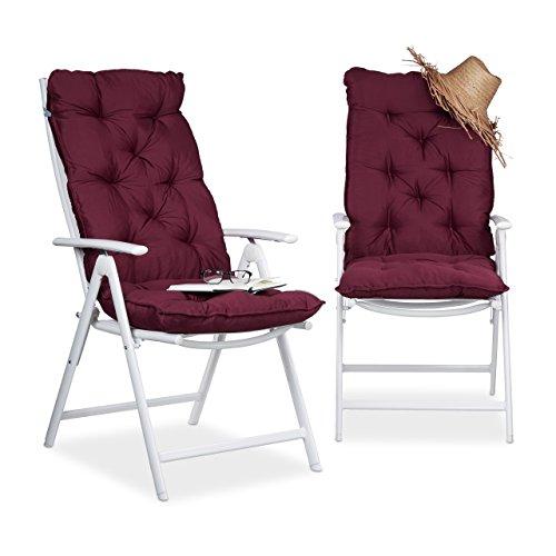 Relaxdays Stuhlauflage Hochlehner 2er Set, Polsterauflage mit Rückenlehne, Sesselauflage hoch, 120 x 50 cm, rot