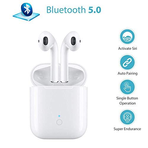 [Version 2019] Bluetooth Kopfhörer in Ear, Sport Kabellos Ohrhörer Bluetooth 5.0 Headset, Wireless kopfhörer mit Portable Ladekästchen, IPX7 wasserdichte (weiß)