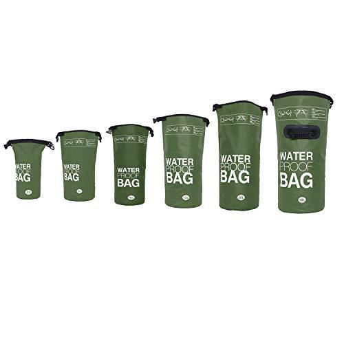 DonDon wasserdichter Outdoor Dry Bag Beutel Sack Trockentasche Trockenbeutel mit Riemen Oliv 10 Liter