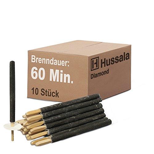 Hussala - Diamond Wachsfackeln Brennzeit 60 min Garten-Fackeln in vers. Stückzahlen (Paketangebote: 10 St. / 25 St. / 50 St. / 100 St. / 200 St.)