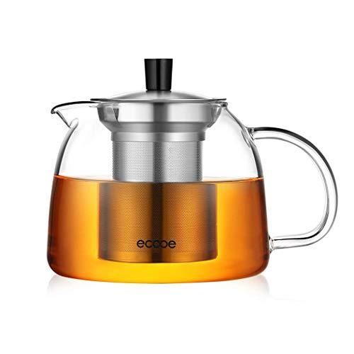 Ecooe Teekanne 1000 mL Dickes Glas Teebereiter mit abnehmbare Edelstahl-Sieb Glaskanne