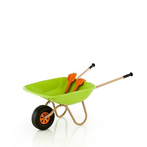 Kettler Schubkarre – als Kinderschubkarre geeignet – diese stabile Gartenkarre ist der richtige Helfer für die Gartenarbeit – inkl. Sandspielzeug – grün