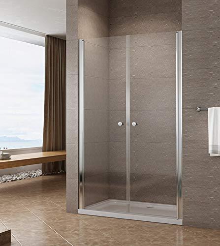 120cm Duschabtrennung Duschtür Nischentür Pendeltür Duschwand Schwingtür mit Nano Beschichtung Höhe 195cm klar
