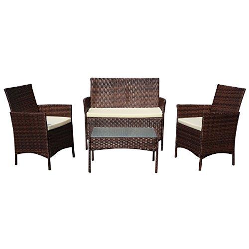 SVITA Gartenmöbel Poly Rattan Sitzgruppe Essgruppe Set Sofa-Garnitur Lounge Braun, Grau Oder Schwarz (Braun)